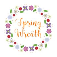 Flat  Flower Spring Wreath Vector Illustration