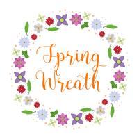Flat  Flower Spring Wreath Vector Illustration
