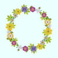 Flor de primavera plana y hoja guirnalda ilustración vectorial