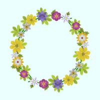 Flat  Spring flower and leaf Wreath Vector Illustration