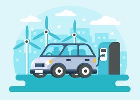 Zukünftiges elektrisches Auto, das Vektor auflädt