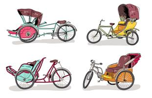 Traditionell Trishaw Hand Dragad Vektor Illustration