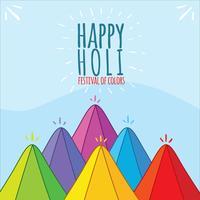 Happy Holi Festival On Blue Vector