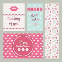 Conjunto De Cartões De Valentim Rosa E Azul