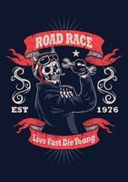 Skalle Vintage Motorcykel Emblem