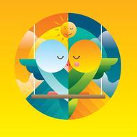 Love Bird Illustration Vector