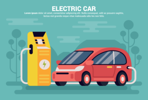Electric Car Vector Illustration