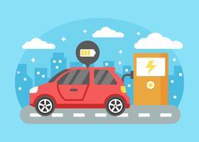 Elektroauto, das Vektor auflädt