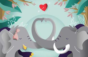 Elephant In Love Romance Background Vector Illustration
