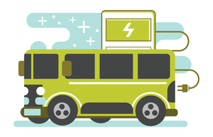 Electric Bus vector