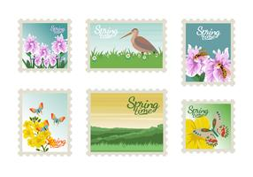 Springtime Postage Stamps Vector Collection