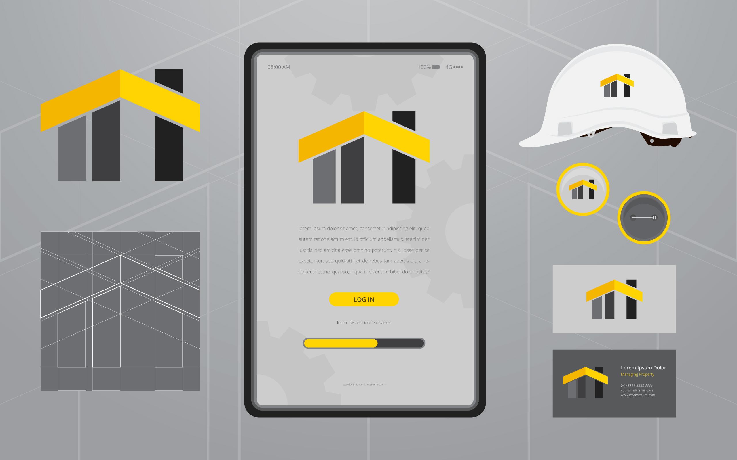 Bau Logos in Briefpapier Set Media. Bauunternehmen Profil Vorlage ...