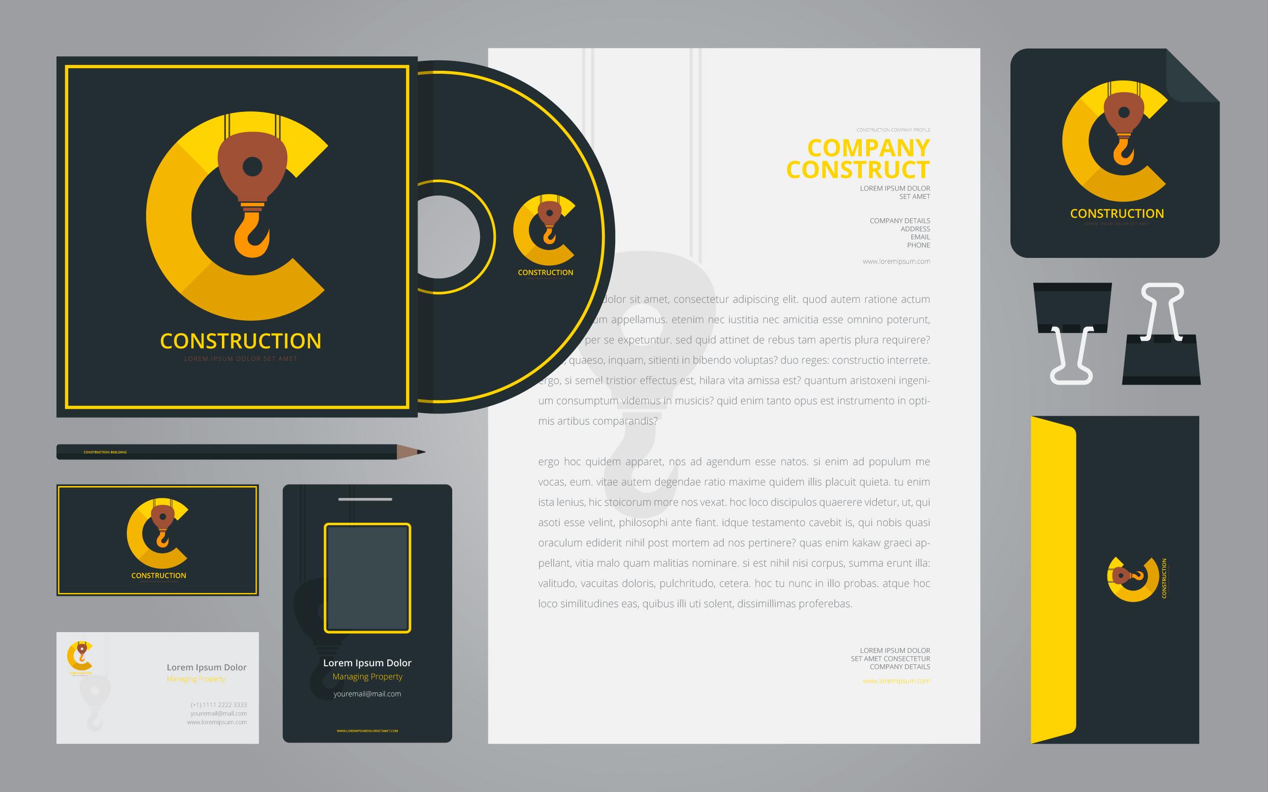 Bau Logos in Briefpapier Set Media. Konstruktions-Branding-Schablone ...