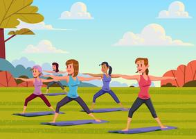 Outdoor Yoga Class vector