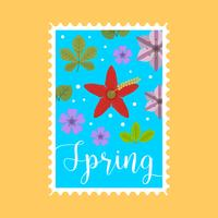 Flat Springtime Stamp Vector