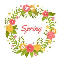 Romantic Flower Spring Wreath Vector