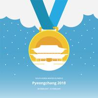 Gold Medals Winter Olympics Korea Illustration