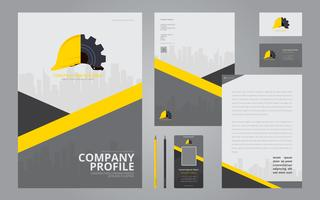 Construction Logos in Stationery Set Media. Construction Company Profile Template.