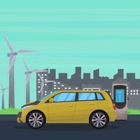 Elektrische auto met industriële vectorillustratie als achtergrond