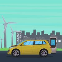 Electric Car With Industrial Background Vector Illustration