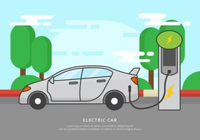 Gratis elektrisk bil laddning vektor illustration