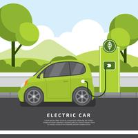 Vector plano del coche eléctrico