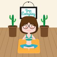 Cute Yoga Instructor Vector