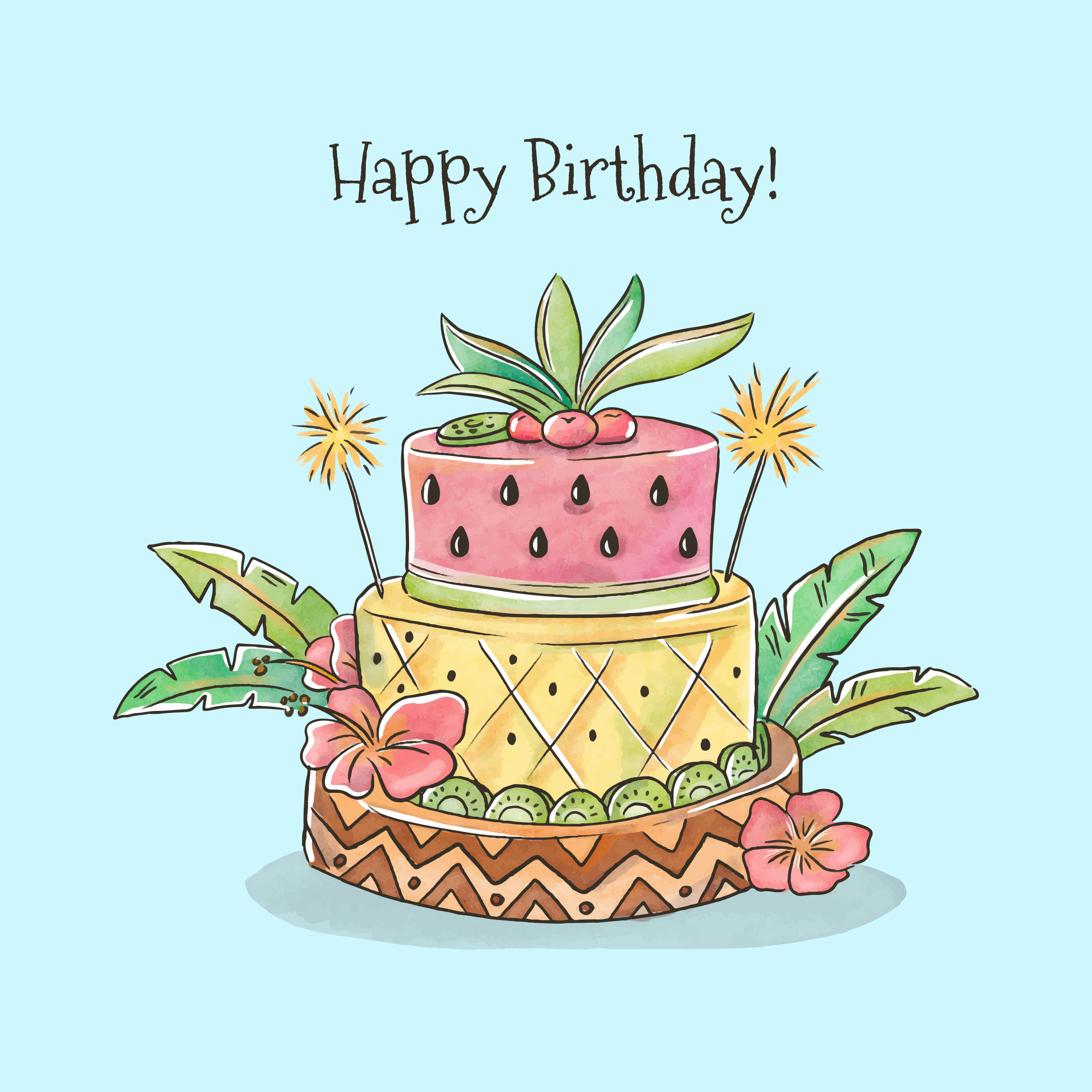 Incredible Cute Birthday Cake With Tropical Style Vector Download Free Funny Birthday Cards Online Alyptdamsfinfo
