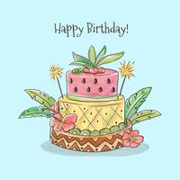Cute Birthday Cake With Tropical Style Vector