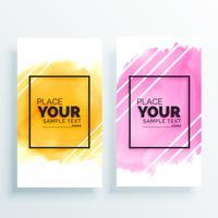 ensemble coloré de bannières aquarelles