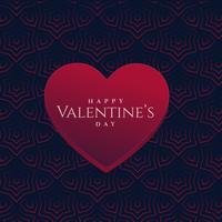 3d Valentijnsdaghart op donkere patroonachtergrond