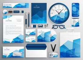 artigos de papelaria abstratos do negócio do azul ajustados para sua identidade de tipo