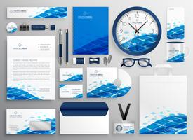 creatief bedrijfskantoorbehoeftenontwerp in blauwe abstracte vorm