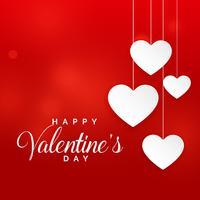 röd valentins dag bakgrund med hängande vita hjärtan