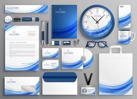 identidade de marca papelaria de negócios definida em forma ondulada azul