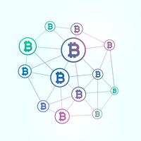network of blockchain bitcoins background