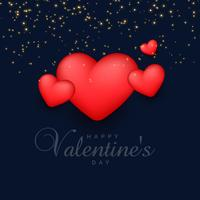 3d rode hartenachtergrond met fonkelingen voor de dag van de valentijnskaart
