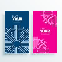 pink and blue card banner with art deco shape