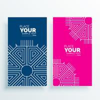 roze en blauwe kaartbanner met art decovorm