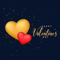 red and golden 3d hearts background for valentine's day