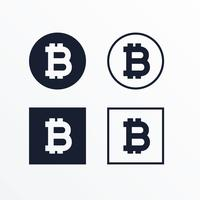 set of black and white bitcoins symbol