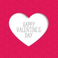 roze Valentijnsdag achtergrond met papier gesneden hart vorm