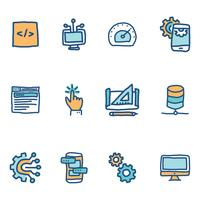 Blue Doodled Icons About Software Engineers