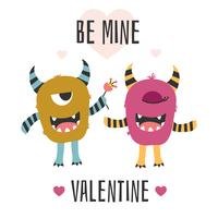 Monsters Valentine Card Vector