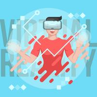 Virtual Reality Experience Man Vector Illustration