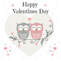 Owls Valentine Card Vector