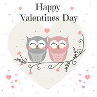 Vetor de cartão de dia dos namorados de corujas