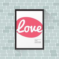 Love one another poster on brick wall vector
