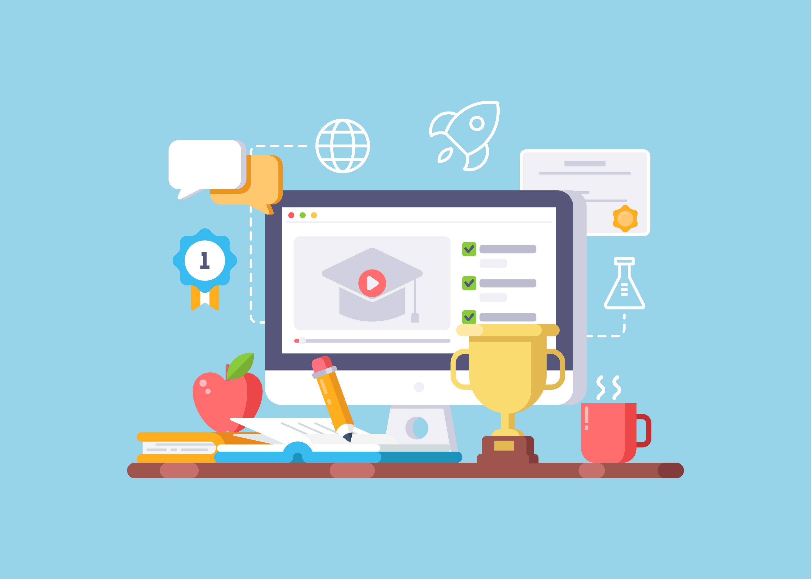 Online Education And E-Learning Illustration - Download Free Vectors,  Clipart Graphics & Vector Art