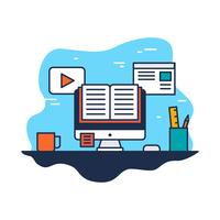 e-learning flat line illustration